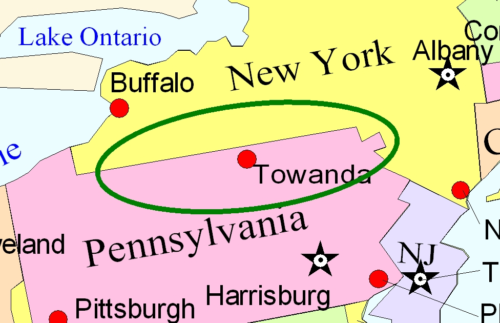 Map of the Twin Tiers NY-PA